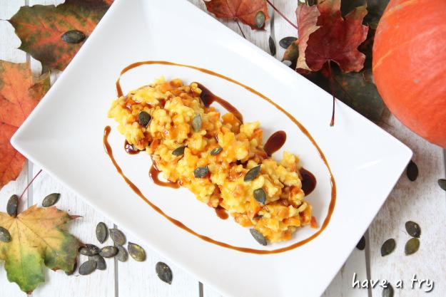 Hokkaidokürbis-Risotto mit Balsamico (vegan, glutenfrei)
